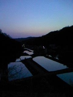 夕暮れの水田(奥能登)