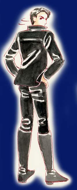 黒革ジャン革パン革ブーツ
