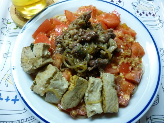 ボリュームピリ辛のっけ麺