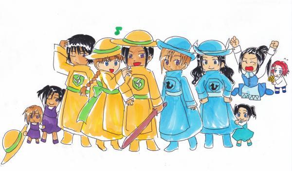 3代目一家[左からジョルジュ(孫)、カサンドラ(孫)、ヴィクター(長男)、ヒルデ(妻)、ワンド(3代目)、フランジュ(三女)、ヒルデガルド(長女)、ハーティ(孫)、ワンダルシア(次女)、ブラン(孫)]