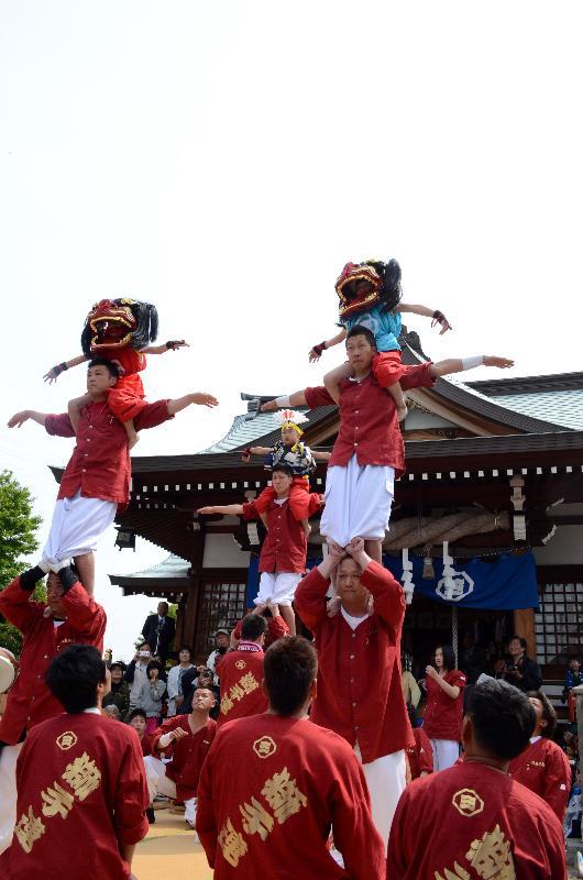 今治市 春祭り 鳥生三島神社 鳥生獅子連中  継獅子