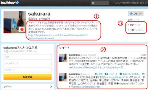 sakuraraボード-twitter画面ログアウト