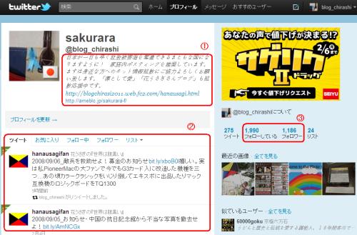 sakuraraボード-twitter画面ログイン