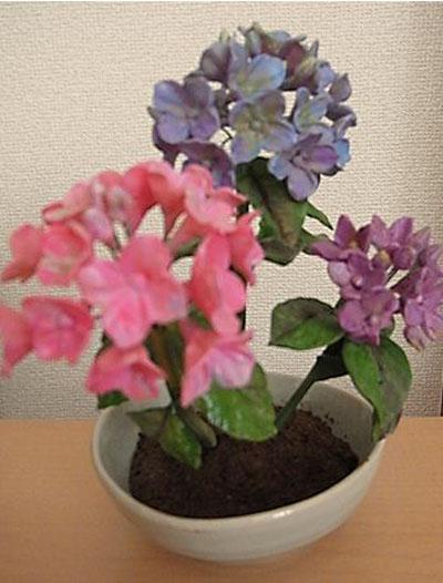 紫陽花の粘土
