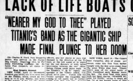 讃美歌「主よ、御許に~ 」をバンドが演奏したことを伝える 最初の新聞記事(April 19. 1912 )