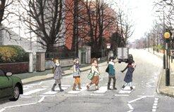 映画「けいおん 」のアビイ・ロードの横断歩道を渡るシーン