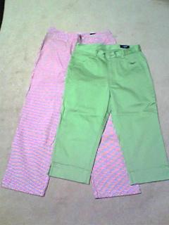 パンツ2本(赤チェック、グリーン)1