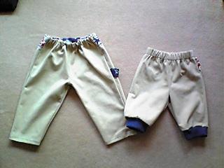 ベージュタックパンツ→子供パンツ2