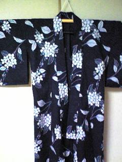 浴衣(紺×白あじさい)