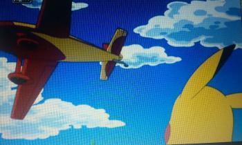 アニメフウロ 通り過ぎる飛行機