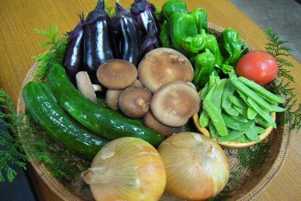 夏野菜と花