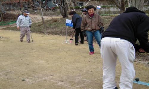 グランドゴルフの練習に