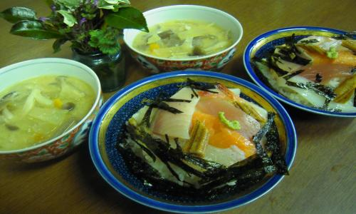 海鮮丼とけんちん汁