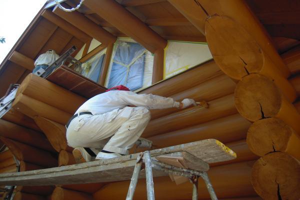 ログハウス保護塗料塗り