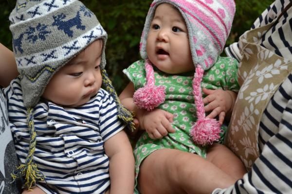 煌大と柑奈 お揃いの帽子で