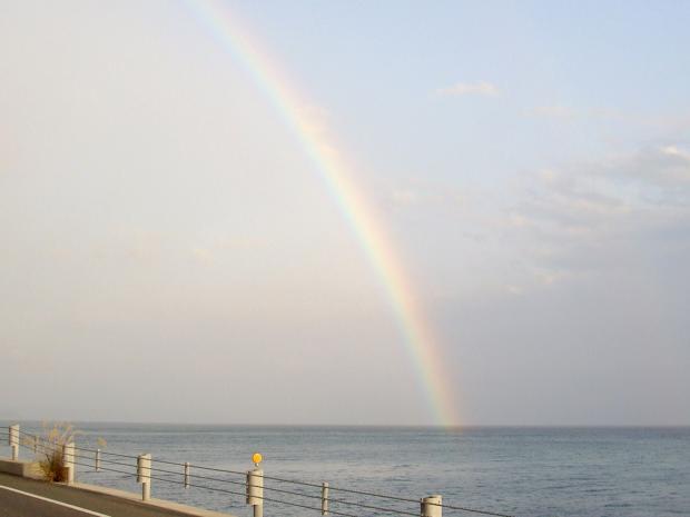 虹が出て、観察会成功を祝ってくれた