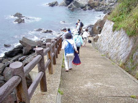 海岸へ降りる遊歩道
