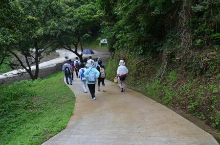 近畿自然歩道を行進する参加者たち