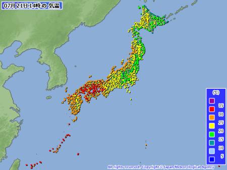 2012年7月21日14時 全国気温分布図