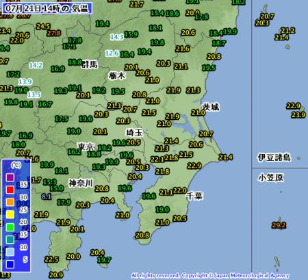 2012年7月21日14時 関東地方気温分布図