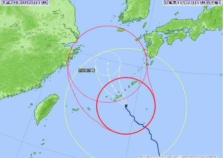 2012年08月26日 15時台風進路予想