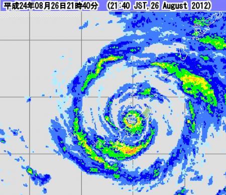 2012年8月26日21時40分 レーダー画像