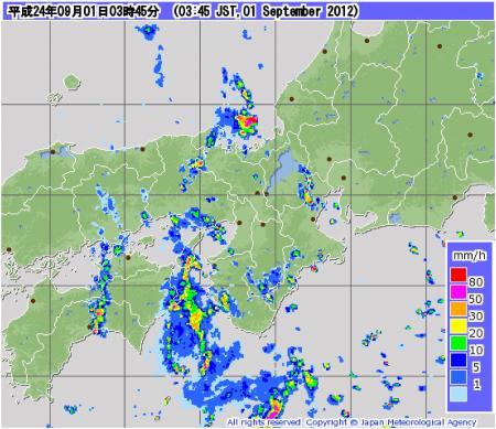 気象レーダーによる降水強度分布観測