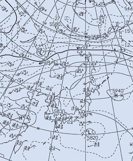 2012年9月1日 9時 500hPa高層天気図(抜粋)