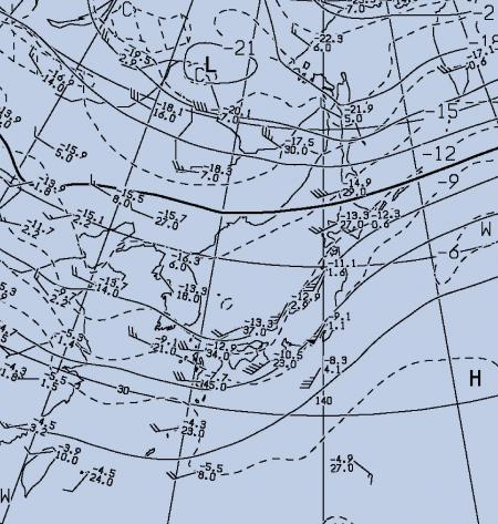 2012年9月21日09時 500hPa高度と気温