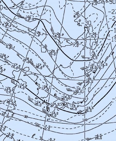 2012年10月23日21時500hPa高度・気温