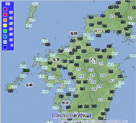 2012年10月24日05時の気温分布
