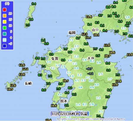 11月2日朝の気温分布