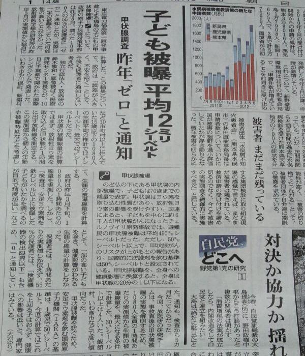 2012-07-25+朝日新聞、福島子供の被爆平均12ミリシーベルト