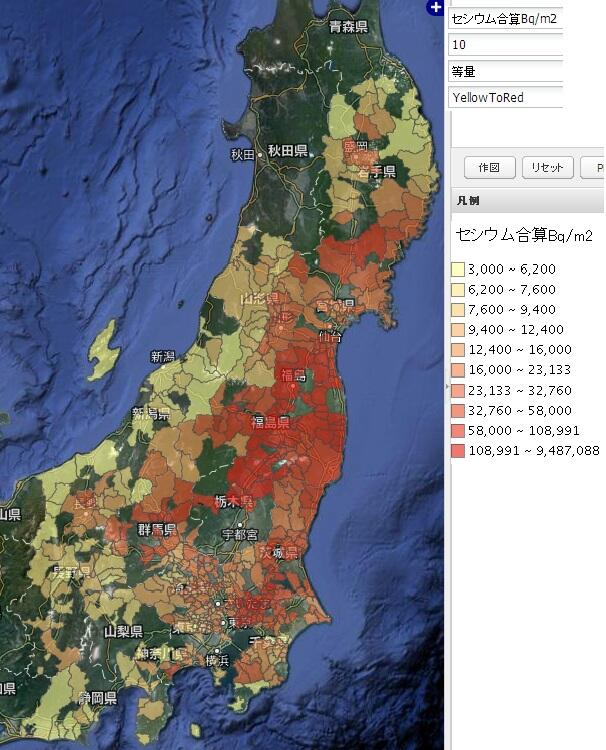関東、東北農地の放射能汚染マップ