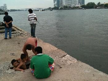 アジアティック チャオプラヤー川 泳ぐ画像