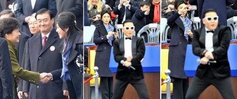 インラック首相 韓国大統領とPsy画像