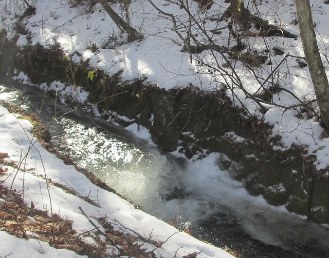 20130106悠心荘の用水路が凍る (1) - コピー