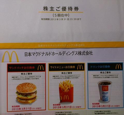 マクドナルド株主優待201206