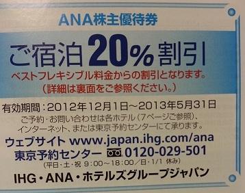 ANA株主優待宿泊割引券
