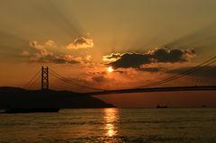 黄昏・明石大橋