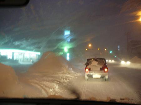 吹雪の中を通勤…