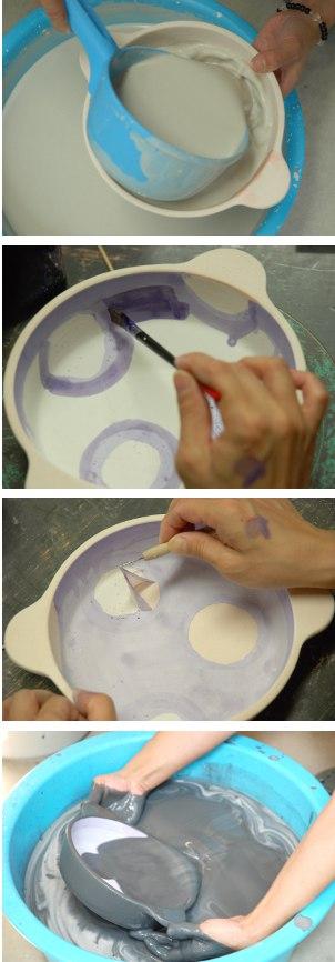 グラタン皿釉掛け・その2.3