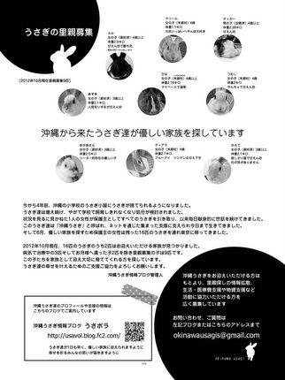 沖縄うさぎ里親募集リーフレット(白黒)