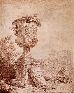 ユベール・ロベール「ボルゲーゼの壺を素描する画家」