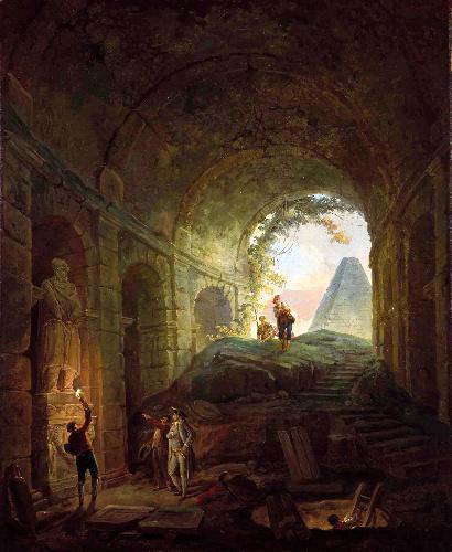 ユベール・ロベール「古代遺物の発見者たち」