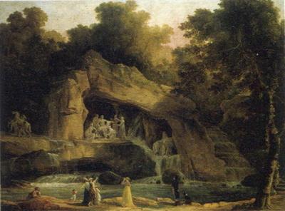 ユベール・ロベール「ヴェルサイユのアポロンの水浴の木立」