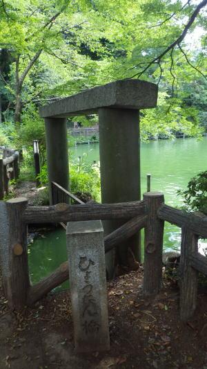 ひょうたん池の残されて鳥居