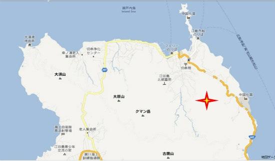 グーグル地図(大須・切串)牛石屋形石山