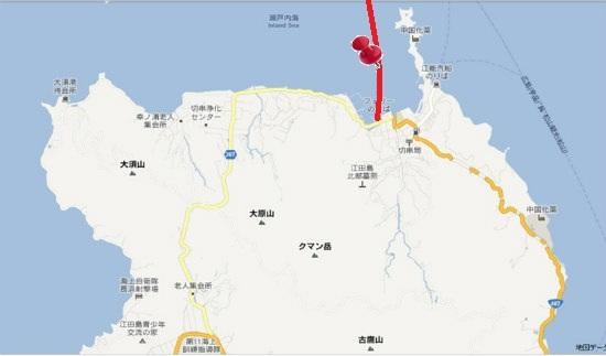 グーグル地図(大須・切串)切串・宇品航路