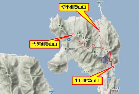 1)江田島町北部(林道・登山道)